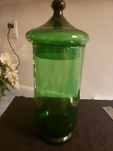 Vintage Olive Green Ribbed Glass Pedestal Apothecary Jar With Lid