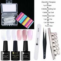 Acryl Nagel Extension Building UV Gellack Kit 20Pcs Fiberglass Nail Art Tips