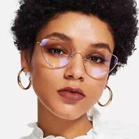 Cat Eye Sunglasses Silver Metal Women Clear Lens Myopia Optical Accessories
