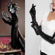 Wear Faux Leather Catsuit Costumes Fetish Adult Sexy Long Latex Gloves