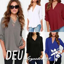 Damen V-Ausschnitt Chiffon Langarm Bluse T-Shirt Sommer Freizeit Oberteil Hemd