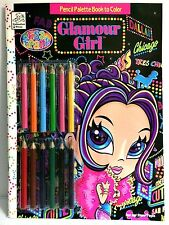 Lisa Frank Glamour Girl Pencil Palette Coloring Book w/ 12 Colored Pencils