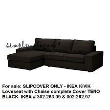 IKEA COVER for IKEA KIVIK Loveseat w Chaise TENO BLACK KIVIK Sectional Slipcover