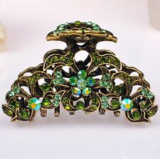 Metal Hair Claw Clip Antiq Gold Green/Purple/Pink/Red Diamant Crystal Rhinestone
