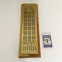 Vintage Brass With Wood Base Cribbage Board Hand Made Game