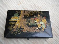 alte Lackdose aus Japan mit Goldmalerei