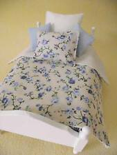 MINIATURE DOLL HOUSE 12TH SCALE SINGLE 5 PCE BEDDING SET CREAM BLUE FLORAL