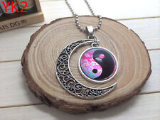 NEW Handmade YING AND YANG Hollow Moon Pendant Silver Necklace#YK2