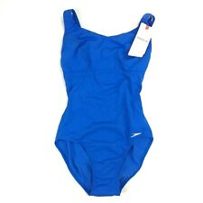 Speedo Low Leg Endurance+ One-Piece Bathing Suit - Blue - Women's Size M
