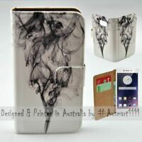 For OPPO Series - Black Smoke Theme Print Wallet Mobile Phone Case Cover