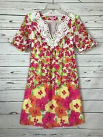 Lilly Pulitzer Floral Pink White Lace Short Sleeve Party Dress ~ Women's Size 0