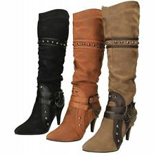 Stiletto Textured Knee High Boots for Women