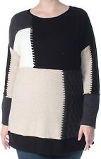 Style & Co. Women's Sweater Black Size 1X Plus Patchwork Pullover $69 #041