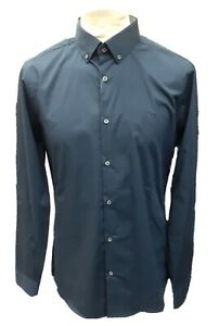 Mens Skinny Fit Stretch Shirt Medium Navy Blue Burton Menswear New With Tags