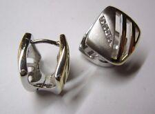 Ohrringe Creolen in Silber 925 bicolor mit Zirkonia beidseitig tragbar