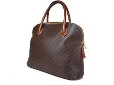 Authentic CELINE MACADAM PVC Canvas, Leather Browns Hand Bag CH14577L