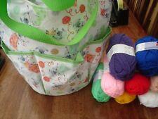 Knitting Bag, Large white with very pretty design plus 8 balls knitting yarn
