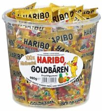 HARIBO 100 x Minibags Gold Bears Goldbears 980g Box Assort Fruit Made in Germany