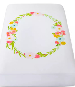 """NWT Cloud Island Cotton White Floral Wreath Fitted Crib Sheet 28""""x 52"""" Baby Girl"""