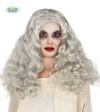 Parrucca Grigia Lunga Mossa Donna Strega Carnevale Halloween Cosplay Anziana