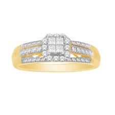 10k Yellow Gold Not Enhanced Princess Diamond Engagement Rings