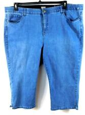 Avenue blue denim elastic waist women's plus spandex stretch capri jeans 26
