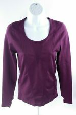 Fabletics Womens Top Sz M Purple Long Sleeve Scoop Neck Thumbholes Stretch Mesh