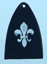 PRS Paul Reed Smith Guitar Truss Rod Cover Mother of Pearl Fleur de Lis on Ebony