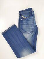 DIESEL Men's Blue Denim Faded Straight Leg Jeans Size W32 L35 Distressed