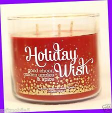 1 Bath & Body Works HOLIDAY WISH Apple & Spice 3-Wick 14.5 oz Candle PINE AMBER