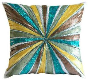 16x16 inch Pillow Cover Multi Color Decorative Silk, Abstract - Merry Go Round