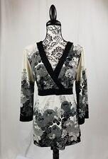 Apt 9 womens sz xl 3/4 length sleeves floral print top tie back stretch bb14