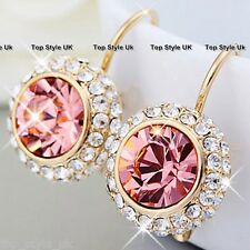 Pink Tourmaline Crystal Diamond Dangle Hoop Earrings Birthday Girl Friend Gift