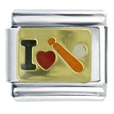 I (heart) baseball bat enamel 9mm stainless steel italian charm bracelet link
