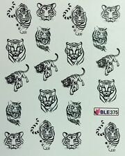 Nail Art Water Decals Black & White Tiger BLE375