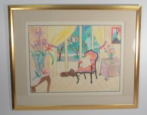 "Pastel Drawing On Paper ""A Dog's Life"" Signed Anita Klebanoff Nicely Framed"