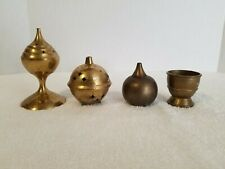 Lot of 4 Vintage Brass Stick/ Cone Incense Burners