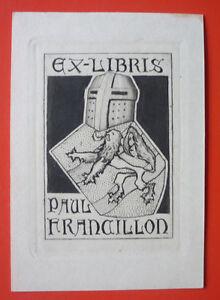 """Exlibris, Bookplate """"Paul Franaillon"""" Jugendstil,Wappen Ritter"""