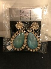 """Sequin Brand Turquoise Color Stone & Rhinestone Drop Earrings 2.25"""" NEW"""
