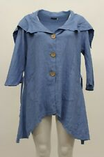 MADE IN ITALY LINEN SUMMER BIG COLLAR TIED SHAPELY JACKET AQUA BLUE PLUS SIZE 1