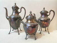antiguo 3 piezas cafetera azucarero tetera metal bañado en plata estampado st