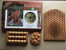 Accupressure Wooden Board Simply Reflexology Book, DVD & BONUS Foot Rollers VGC
