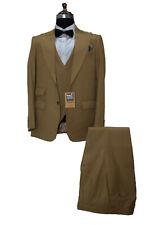 Hombre Dorado Trajes de Diseño Boda Novios Cena (Chaqueta+Chaleco+Pantalones)