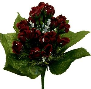 """21 Mini 1"""" Roses Artificial Silk Flowers Wedding Bouquet Crafts Fake Faux Party"""