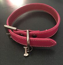 pink leather Fox & Hounds dog collar with a bone charm