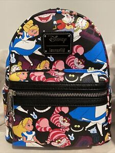 Alice In Wonderland AOP Loungefly Mini Backpack Cheshire Cat Rabbit Disney NWT