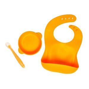 Baby Toddler Feeding Set BPA Free Silicone Self Catching Bib Spoon Suction Bowl