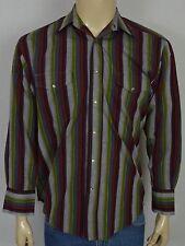 Wrangler Multicolor Striped L/S Western Cowboy Shirt Men's Sz Medium Pearl Snaps
