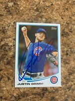 Justin Grimm Signed 2013 Topps Update Rc Auto Chicago Cubs