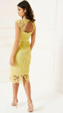 NEW🌺LIPSY VIP @NEXT🌺Size 10 Lemon Yellow 3D Flower Premium All Over Lace Dress